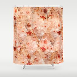 Floral grunge. Orange flowers on a light coral background. Shower Curtain