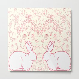 Two Rabbits Collaboration Metal Print