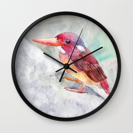 Baby Borneo Colorful Kingfisher Watercolor Wall Clock