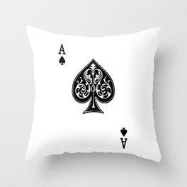 Ace Spades Spade Playing Card Game Minimalist Design Throw Pillow