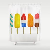 popsicle Shower Curtains featuring Popsicle Collection by Cat Coquillette