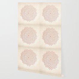 Mandala Flower Rose Gold on Cream Wallpaper