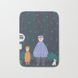 Waiting in the the forest rain Bath Mat