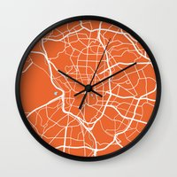 madrid Wall Clocks featuring Madrid Map by Studio Tesouro