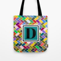 monogram Tote Bags featuring D Monogram by mailboxdisco