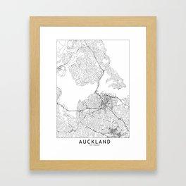 Auckland White Map Framed Art Print