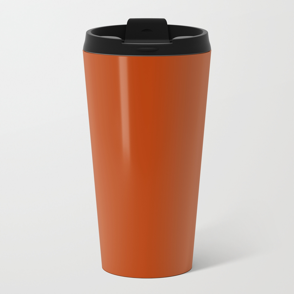 Rust - Solid Color Metal Travel Mug by Makeitcolorful MTM8678624