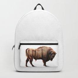 Bison Double-exposure art Backpack