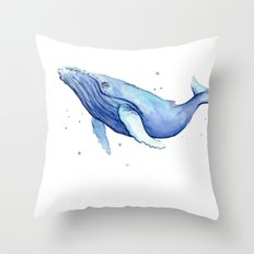 Humpback Whale Watercolor Animal Painting Nursery Animals Throw Pillow