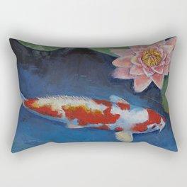Koi and Water Lily Rectangular Pillow