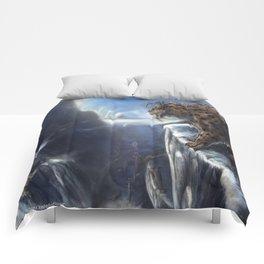 Danger Through the Mountain Pass Comforters