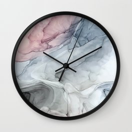 Pastel Blush, Grey and Blue Ink Clouds Painting Wall Clock