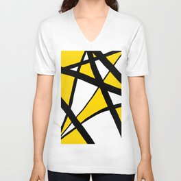 Sunshine Yellow Geometric Triangles Abstract Unisex V-Neck