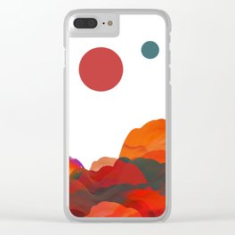 """Coral Sci-Fi Mountains"" Clear iPhone Case"