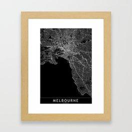 Melbourne Black Map Framed Art Print