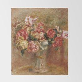 """Auguste Renoir """"Roses dans un vase de Sèvres"""" Throw Blanket"""