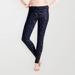 Moon And Stars Midnight Blue And Gold Pattern Leggings