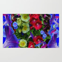 HOLLYHOCKS & MORNING GLORIES COTTAGE BLUE ART Rug