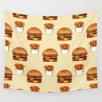 fries Wall Tapestries featuring Burger n' Fries by Jenn So