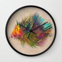 hedgehog Wall Clocks featuring hedgehog by jbjart