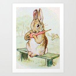 Peter Rabbit eating his carrot by Beatrix Potter Art Print