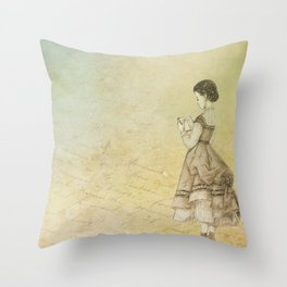 Vintage Woman Neck Gator Young Lady Vintage Lady Throw Pillow