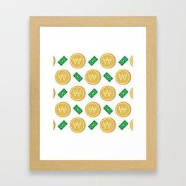 Korean won pattern background Framed Art Print