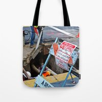 work hard Tote Bags featuring Hard Work by Manford Holmes