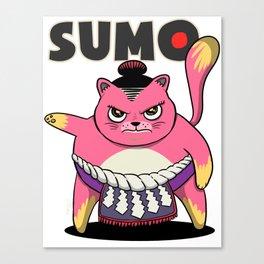 Sumo Wrestler Cat Yokozuna ネコ Neko Pink Canvas Print