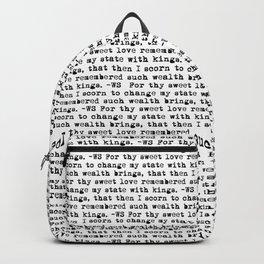 Sonnet 29 - Love Sonnet on white Backpack