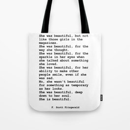 She was beautiful by F. Scott Fitzgerald #minimalism #poem Tote Bag