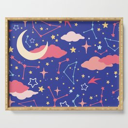 Constellation Stars and Moons in Neon Pastels Serving Tray
