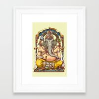 ganesha Framed Art Prints featuring Ganesha by Pirates of Brooklyn
