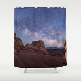 Delicate Arch Under the Starry Sky in Arches National Park Panorama Shower Curtain