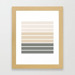 Neutral beige and gray colors stripes Framed Art Print