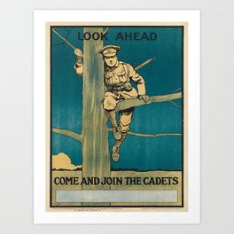 retro look ahead   come and join the cadets  Art Print