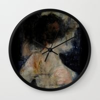 imagerybydianna Wall Clocks featuring apophrades by Imagery by dianna