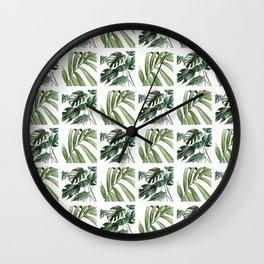 Greenery Squares Watercolor Painting Wall Clock