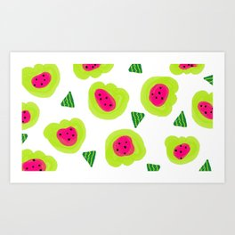 Melon Dream Watermelon brightness pips and all Art Print
