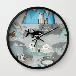Arctic animals grey Wall Clock