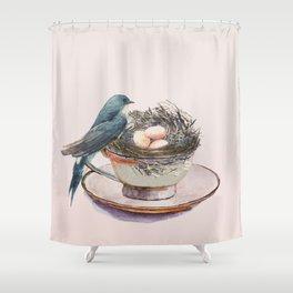 Bird nest in a teacup Shower Curtain