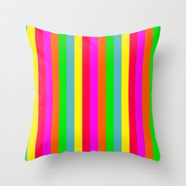 Neon Hawaiian Rainbow Cabana Stripes Throw Pillow