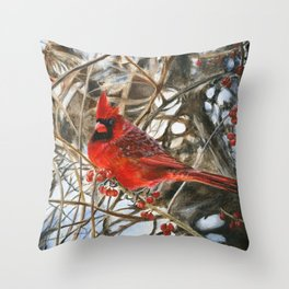 Winter Cardinal by Teresa Thompson Throw Pillow