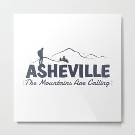 Asheville - The Mountains Are Calling - AVL 2 Grey On White Metal Print