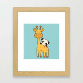 Cute and Kawaii Giraffe and Panda Framed Art Print