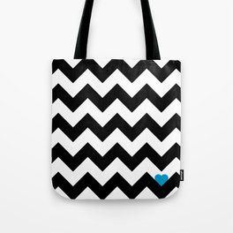Heart & Chevron - Black/Blue Tote Bag