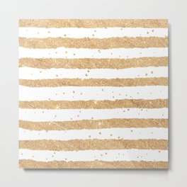 Elegant white faux gold glitter geometrical stripes Metal Print