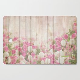 Beautiful Pink Tulip Floral Vintage Shabby Chic Cutting Board