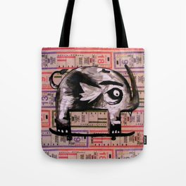 Snaggle Toothed Elephant Rides Skateboard - SF Muni Tickets Tote Bag