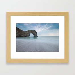 Rock named Durdle Door Framed Art Print